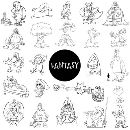 Black and White Cartoon Illustration of Fantasy or Fairy Tale Characters Large Set Coloring Book Page Vectores