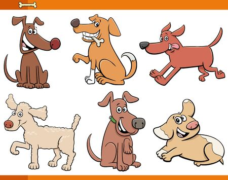 Cartoon Illustration of Comic Dogs and Puppies Animal Characters Set Illustration