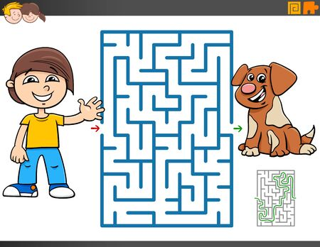 Cartoon Illustration of Educational Maze Puzzle Game for Children with Boy and Puppy Dog Character Vector Illustratie