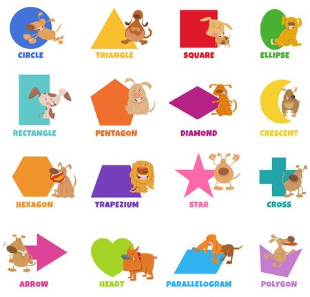 Educational Cartoon Illustration of Basic Geometric Shapes with Captions and Dogs and Puppies Animal Characters for Preschool and Elementary Age Children 向量圖像