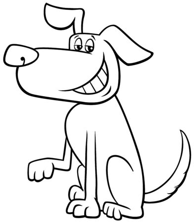 Black and White Cartoon Illustration of Funny Brown Toothy Smiling Dog Animal Character Coloring Book Page