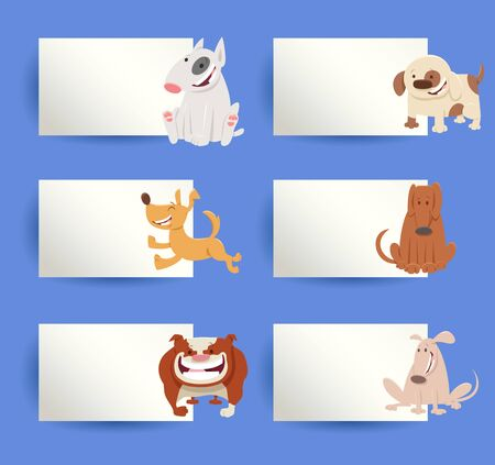 Cartoon Illustration of Funny Dogs and Puppies with White Cards or Boards Greeting or Business Card Design Collection
