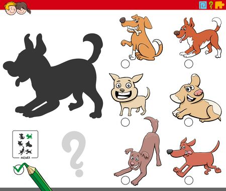 Cartoon Illustration of Finding the Right Shadow Educational Task for Children with Playful Dogs Animal Characters