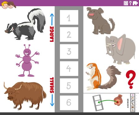 Cartoon Illustration of Educational Game of Finding the Largest and the Smallest Species with Animal Characters for Kids 向量圖像