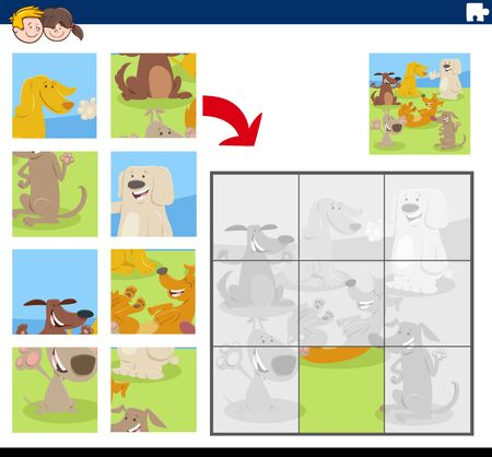 Cartoon Illustration of Educational Jigsaw Puzzle Game for Children with Funny Dogs Animal Characters Group 일러스트