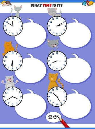 Cartoon Illustrations of Telling Time Educational Activity with Clock Face and Funny Cats Animal Characters
