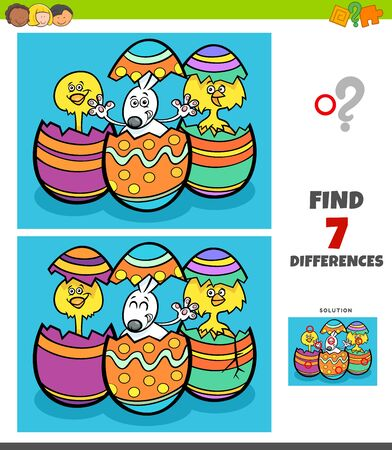 Cartoon Illustration of Finding Differences Between Pictures Educational Game for Children with Easter Bunny and Chick Characters