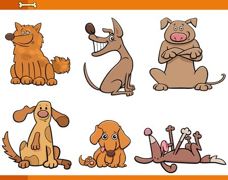 Cartoon Illustration of Funny Dogs and Puppies Animal Characters Set Illustration