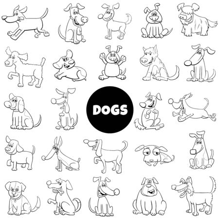 Black and White Cartoon Illustration of Dogs and Puppies Animal Characters Set Large Collection 矢量图像