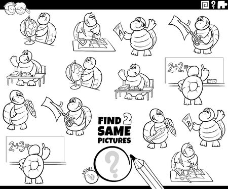 Black and White Cartoon Illustration of Finding Two Same Pictures Educational Game for Children with Pupil Turtle Characters Coloring Book Page