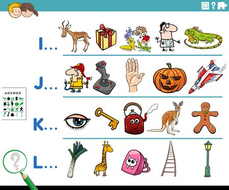 Cartoon Illustration of Finding Pictures Starting with Referred Letter Educational Task Worksheet for Preschool or Elementary School Kids