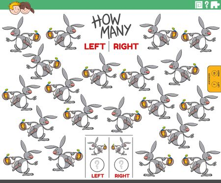 Cartoon Illustration of Educational Game of Counting Left and Right Oriented Pictures of Easter Bunny Character