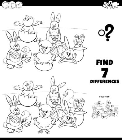 Black and White Cartoon Illustration of Finding Differences Between Pictures Educational Game for Children with Easter Holiday Characters Coloring Book Page
