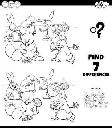 Black and White Cartoon Illustration of Finding Differences Between Pictures Educational Game for Children with Easter Bunnies and Chicks Characters Coloring Book Page Vector Illustration