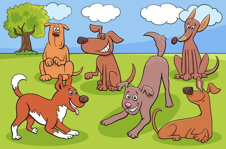 Cartoon Illustration of Dogs and Puppies Animal Comic Characters Group in the Park