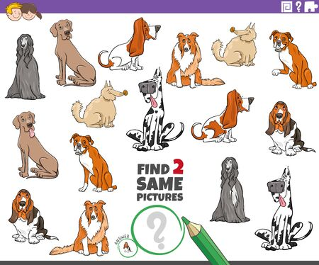 Cartoon Illustration of Finding Two Same Pictures Educational Game for Children with Purebred Dogs Animal Characters