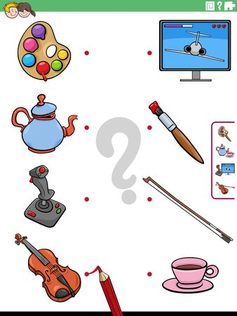 Cartoon Illustration of Educational Matching Game for Children with Objects 向量圖像