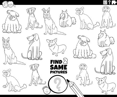 Black and White Cartoon Illustration of Finding Two Same Pictures Educational Game for Children with Cute Purebred Dogs Animal Characters Coloring Book Page Vector Illustration