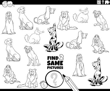 Black and White Cartoon Illustration of Finding Two Same Pictures Educational Game for Children with Purebred Dogs Animal Characters Coloring Book Page Illustration