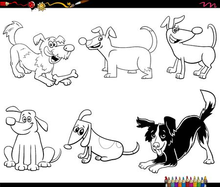 Black and White Cartoon Illustration of Dogs and Puppies Animal Funny Characters Set Coloring Book Page