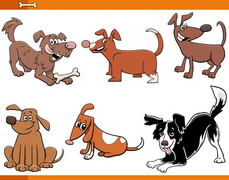 Cartoon Illustration of Funny Dogs and Puppies Funny Animal Characters Set Illustration