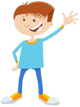 Cartoon Illustration of Happy Elementary or Teen Age Boy Comic Character Ilustração