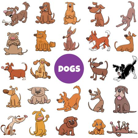 Cartoon Illustration of Dogs and Puppies Pet Animal Characters Large Set