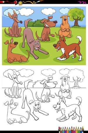Cartoon Illustration of Funny Dogs and Puppies Animal Characters Group Coloring Book Page