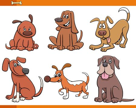 Cartoon Illustration of Funny Dogs and Puppies Cute Animal Characters Set