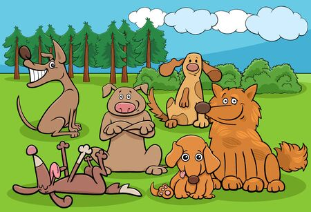 Cartoon Illustration of Dogs and Puppies Funny Animal Characters Group in the Park Illustration