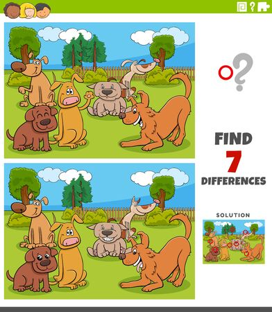 Cartoon Illustration of Finding Differences Between Pictures Educational Game for Children with Funny Dogs Group Vektorgrafik