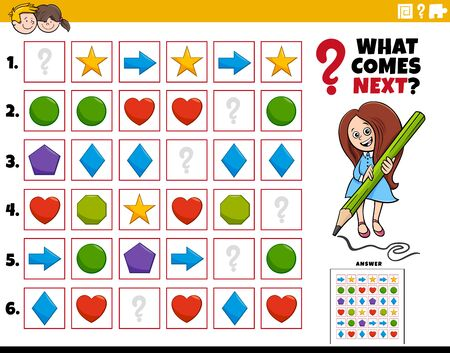 Cartoon Illustration of Completing the Pattern in the Rows Educational Task for Elementary Age or Preschool Children