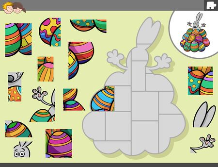 Cartoon Illustration of Educational Jigsaw Puzzle Game for Children with Easter Bunny Character with Easter Eggs Ilustração