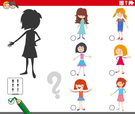 Cartoon Illustration of Finding the Right Shadow Educational Game for Children with Kid Girls Characters