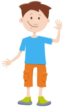 Cartoon Illustration of Elementary Age or Teenager Boy Comic Character