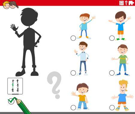 Illustration de dessin animé de trouver le bon jeu éducatif d'ombre pour les enfants avec des personnages de garçons pour enfants