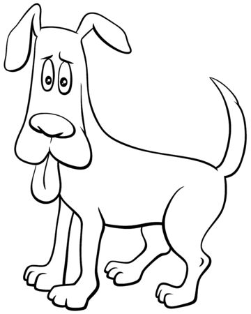 Black and White CCartoon Illustration of Startled Dog Comic Animal Character with Stuck Out Tongue Coloring Book Page