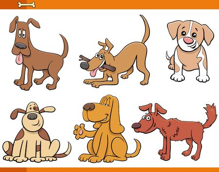 Cartoon Illustration of Funny Dogs and Puppies Comic Animal Characters Set Illustration