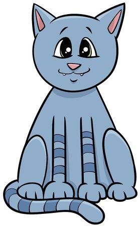 Cartoon Illustration of Funny Cat or Kitten Comic Animal Character