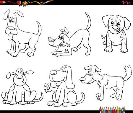 Black and White Cartoon Illustration of Funny Dogs and Puppies Comic Animal Characters Set Coloring Book Page