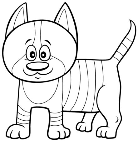 Black and White Cartoon Illustration of Cute Kitten Comic Animal Character Coloring Book Page Illustration