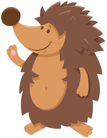 Cartoon Illustration of Cute Comic Hedgehog Wild Animal Character