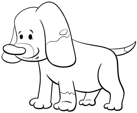 Black and White Cartoon Illustration of Cute Puppy Comic Animal Character Coloring Book Page