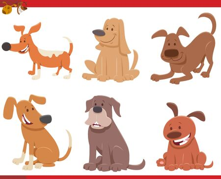 Cartoon Illustration of Cute Dogs or Puppies Pet Animal Characters Set