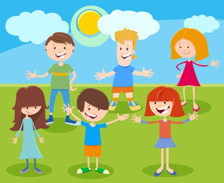 Cartoon Illustration of Happy Elementary or Teen Age Kids Characters Group Outdoor Illustration