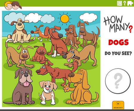 Illustration of Educational Counting Game for Children with Cartoon Funny Dogs Animal Characters Group Outdoor
