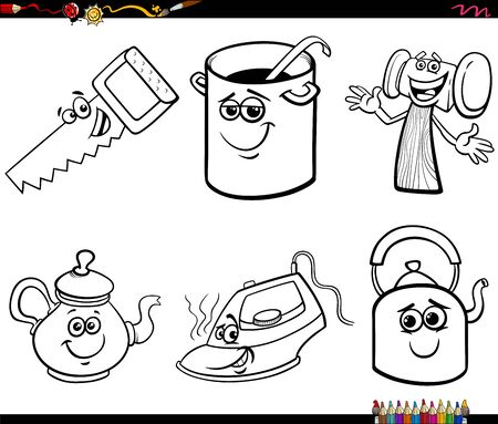 Black and White Cartoon Illustration of Household and Every Day Objects Characters Clip Art Set Coloring Book Page