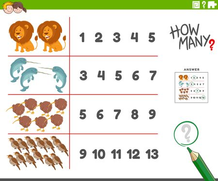 Cartoon Illustration of Educational Counting Task for Children with Cute Wild Animal Characters