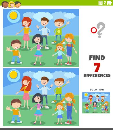 Cartoon Illustration of Finding Differences Between Pictures Educational Task with Funny Children Characters Group Ilustración de vector