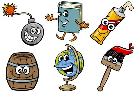 Cartoon Illustration of Funny Objects Characters Clip Art Set Ilustrace